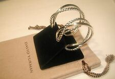 David Yurman Sterling Silver Crossover Cable Hoop Earrings