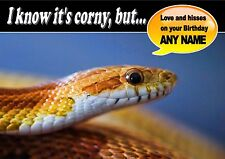 PERSONALISED CORN SNAKE REPTILE BIRTHDAY CARD Top Quality + Illus Middle Insert