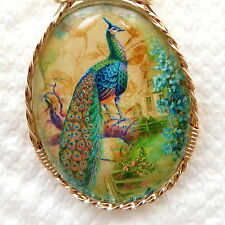 Peacock Glitter Glass Cameo Cabochon Pendant 14K Rolled Gold Animal Jewelry