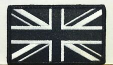 UK The Jack GB Flag Iron On Patch Morale Black & White Version Black Border
