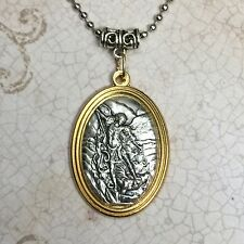 Saint Michael Archangel Protection Medal Pendant Catholic Silver Gold Tone Italy