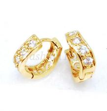 Women Girl New Hoops Earrings 14K Yellow Gold Plated CZ Cubic Small Simple 13mm