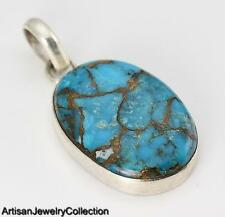 BLUE COPPER TURQUOISE & 925 STERLING SILVER PENDANT JEWELRY  R530A