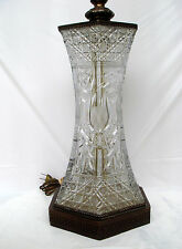 CUT CRYSTAL TABLE LAMP- HEXAGON - METAL  BASE AND TOP- FLOWERS PATTERN - AMAZING