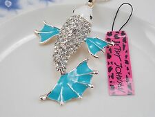 Betsey Johnson fashion jewelry Crystal fish pendant necklace # F481