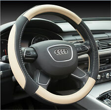 38CM Soft Leather Auto Car Steering Wheel Wrap Cover Black & Beige Hot
