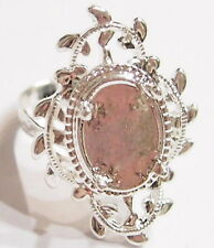 2 of 14x10 mm Silver Victorian Art Nouveau Loops & Leaf Adjustable Ring Settings