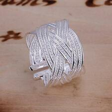 China Wholesale 925 Silver Filled Charm Braided Ring Adjustable Costume jewelry