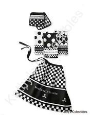 Authentic  MacKenzie-Childs Black & White Kitchen Linens Set  New