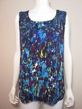 LAURA ASHLEY Sequined Ruffle Scoop Neck Stretch Jersey Tank Top Purple Blue 1X