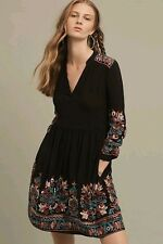 NWT Anthropologie Embroidered Avery Dress size M by Floreat Black $158