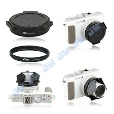 Black Auto Lens Cap + 37mm Filter Adapter for Panasonic Lumix LX7 & Leica D-Lux6