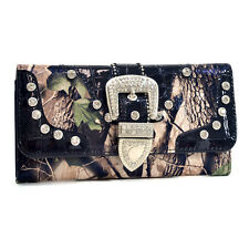 Realtree Camouflage Purse Trifold Pink Camo Wallet with Rhinestone Buckle Croco