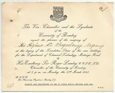 India 1941 University of Bombay crested invitation with map