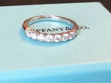 TIFFANY & CO PLATINUM 3mm SHARED SETTING DIAMOND RING .57ct Retail $5225 SIZE7.5