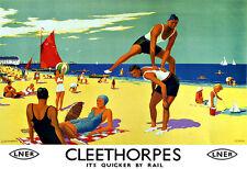 Art ad Cleethorpes LNER Tren Ferrocarril viajar cartel impresión