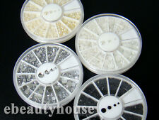 4 X Nail Art Decoration Pearl and Rhinestones Wheel Nail Art Set #056K