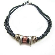 NEW Leather Men's Metal Surfer Braided Necklace Choker Leatherette Black