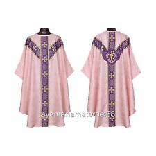 Rose Chi Rho Gothic Chasuble Set Lined+Stole, Maniple, Chalice Veil, Burse