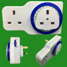 2 Gang 24 Hour 15 Minute Segment Timer UK Mains Plug In Switch With Extra Socket