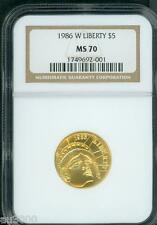 1986-W $5 Statue of Liberty Commemorative Gold Coin Ngc Ms70 Ms-70 Perfect !