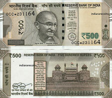 INDIA 500 Rs Star Replacement Patel 2016 Flag L Inset Paper Money Bank Note UNC