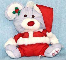 Fisher Price Puffalump Christmas Santa Mouse Plush Gray Red Hat #8029 Vintage