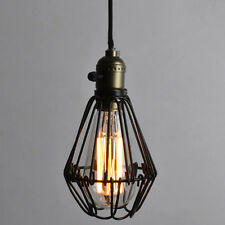 Antique Brass E27 Pendant Light Iron Cage Hanging Lamp Shade Bulb Guard No Wire