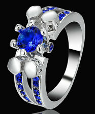Blue Sapphire CZ Crystal Skull Women's10Kt White Gold Filled Party Ring Size 8