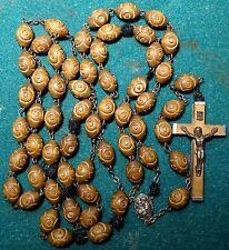 """Old LGE CARVED WOOD BEADS ROSARY - ST ANTHONY 32.68"""""""