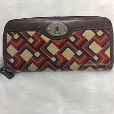 Fossil Key Per Fossil Multicolored Geometric Pattern Shapes Zip Around Wallet