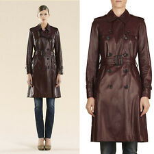 Sz 38 XS NEW $5450 GUCCI Red BORDEAUX LEATHER Belted Classic Spring TRENCH COAT