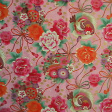 [Precut] 75x112cm Pink Crane Floral Japanese Cotton Fabric Remnant  - PC677