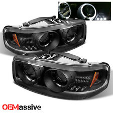 Fits 99-06 Sierra Pickup Truck Black Bezel Dual Halo LED Projector Headlights