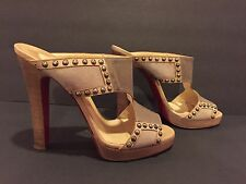 Christian Louboutin Sandals Slides Studded High Heel Beige Taupe 40.5/ 9.5-10