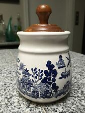 Vintage Medium Blue Willow Pantry Collection Air-tight Canister with Wooden Lid