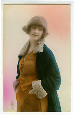 1920s French Deco FASHION BEAUTY Lady tinted photo postcard