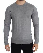 NWT $700 DOLCE & GABBANA Gray Silk Cashmere Crew-neck Sweater Pullover IT52 / XL