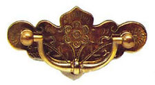"""3"""" Antique Style Solid Brass Engraved Plate Drawer Handle 1516A/B"""