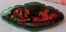 Russian troyka / 3 horses/  WOOD  HANDPAINTED BARRETTE  HAIR PIN LARGE #29s s