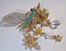 """KIRKS FOLLY """"ASTRAL FAIRY BROOCH"""" WONDERFUL W/STUNNING WINGS/CRYSTALS/SNOWFLAKES"""