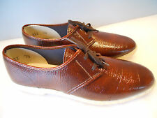 Nos Vintage 1970s Rust Patent Brown Oxford Crepe Shoes Sneakers Loafer Mod 7.5