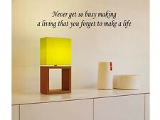NEVER FORGET TO MAKE A LIFE Vinyl Wall Decal Words Lettering Sticker  Decor 24""