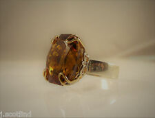 Sterling Silver & 14K 14Ct. Yellow Gold 20ct. Madeira Citrine Ring Fleur-de-lis