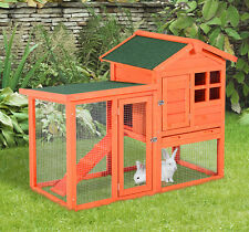 Large Wooden House Rabbit Hutch Chicken Coop Bunny Animal Cage w/Tray Run
