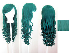 29'' Long Curly w/ Long Bangs Viridian Teal Blue Green Cosplay Wig NEW