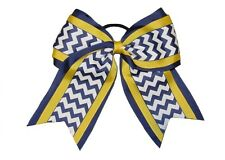"NEW ""NAVY YELLOW CHEVRON"" Cheer Hair Bow Pony Tail 3"" Ribbon Girls Cheerleading"