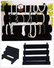 Black 3-Tier Jewelry Hard Display Stand Holder Bracelet Chain Bangle Watch FE