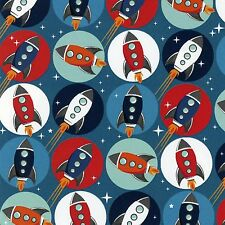 Fabric Space Blast Off! Rocket Ships on Blue Cotton by the 1/4 Yard BIN
