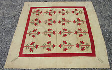 """Estate Found Handmade Quilt with Flowers 78"""" x 78"""" Signed + Dated 1884"""